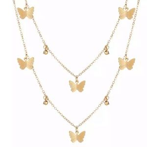 Trendy Layered Butterfly Necklace - Gold